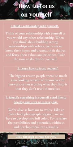 Learn how to focus on yourself with these great tips! Learn self-love, build your confidence and be happy. Click through to read more. Focus On Yourself, How To Better Yourself, Learning To Love Yourself, Self Love Quotes, Change Quotes, Self Development, Leadership Development, Personal Development, Self Care Activities