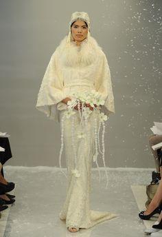Monoglian Lamb Poncho Wedding Dress   Theia White Collection Fall 2015   Blog.theknot.com