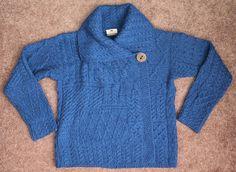 CARRAIG DONN Blue Aran Irish Wool Button Drape Collar Cardigan Sweater M Ireland…