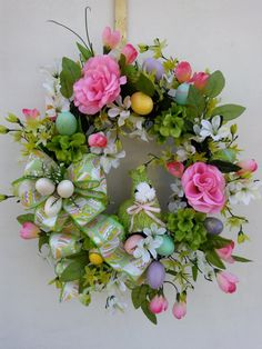 Easter Front Door Grapevine Wreath Roses and Tulip by ThePetalShop