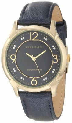 Anne Klein Women's AK/1066NMNV Gold-Tone Navy Blue Leather Strap Watch Anne Klein. $65.00. Navy blue shimmer genuine leather strap with matching stitching and gold-tone buckle closure. 36 mm round gold-tone case. Navy blue genuine mother-of-pearl dial with 2 clear Swarovski crystals markers at 1,2,4,5,7,8,10 & 11 hours and gold-tone Arabic numerals at 3, 6, 9 & 12. Gold-tone hour, minute and second hands. Water-resistant to 30 M (99 feet)