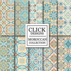 Marokkanische Digital Paper: RETRO MAROKKANISCHE Fliesen 10 Jahrgang digitalem Papier Pack RETRO MAROKKANISCHE Fliesen…
