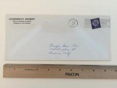 """Item: fc_19570526_1 advertising cover approx.  4"""" x 9 ½"""" Condition: very good, yellowing due to age and slight creases  OCHINERO'S MARKET 425 W. Shields Avenue Fresno 5, California  Postmark: FRESNO MAY 26 1:30 PM 1957 CALIF. Stamp: 3c Liberty First Class  Addressee: Pacific Gas & Elec. 1401 Fulton St. Fresno, Calif."""