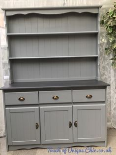 Large Pine Welsh Dresser Grey Delivery Available
