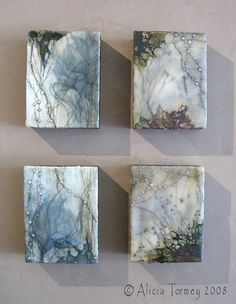 beads ~ encavustic, oil, shellac on wood ~ by alicia tormey
