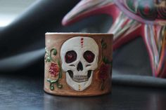 Hand Made Sugar Skull Leather Cuff Bracelet by LacieAlgeoDesigns on Etsy