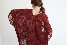 Lace kimono jacket Sheer marsala boho Kimono robe Kimono cardigan duster jacket red festival Kaftan Beach cover up Bridal lingerie IVY