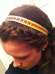 Softball hairstyle! Braided on the side, did it all by myself first time ever! :)
