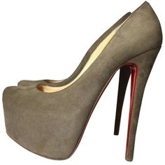 Christian Louboutin Pre-owned Christian Louboutin Daffodile Suede Euro... ($425) ❤ liked on Polyvore featuring shoes, pumps, grey, platform pumps, grey shoes, women shoes, gray pumps and christian louboutin pumps