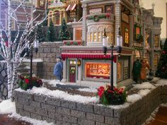 """Great shot of the Christmas in the City - """"Woolworth's"""" Christmas Tree Village Display, Grinch Christmas Tree, Lemax Christmas Village, Christmas In The City, Halloween Village, Christmas Town, Christmas Decorations For The Home, Christmas Villages, Christmas Settings"""