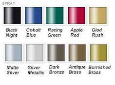 metallic color chart rustoleum spray paint colors Rustoleum Spray Paint Colors, Metallic Paint Colors, Rustoleum Metallic, Paint Color Chart, Metal Finishes, Blue Green, Bronze, Antiques