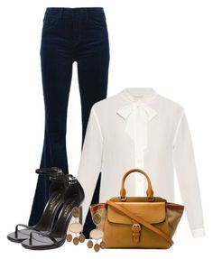 """""""work wear"""" by larycao ❤ liked on Polyvore featuring J Brand, Yves Saint Laurent, Burberry, women's clothing, women, female, woman, misses and juniors"""
