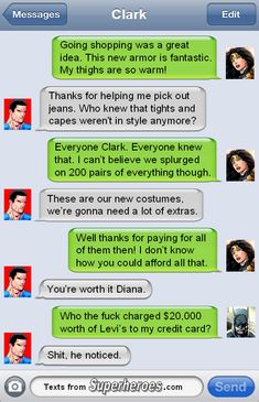 Superman and Wonder Woman discuss their new costumes and Batman has one minor…