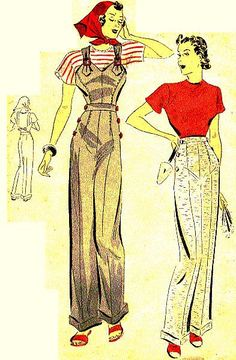 1938 pants and bubs. Commercial Pattern Archive late 30s war era color illustration pants overalls knit top shirt red white black shoes hair scarf vintage fashion style