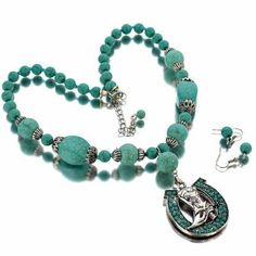 Cowgirl Bling Ranch, LLC - Chunky Turquoise Horseshoe & Boot Necklace Set. $14.99  FREE SHIPPING. www.cowgirlblingranch.com