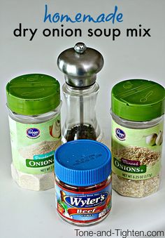 Homemade Dry Onion Soup Mix on Tone-and-Tighten.com - this is so easy and has way less sodium!