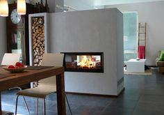 Very nice modern fireplace for your home Fireplace Kits, Cozy Fireplace, Fireplace Design, Loft Industrial, See Through Fireplace, Indoor Outdoor Fireplaces, Foyers, House Colors, Home And Living