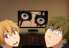 Attack on Titan / Free! ~~ Um, Nagisa could handle the violence. Makoto couldn't.< this was me when my friend and I watched the first episode. If they think snk is scary, then they really shouldn't watch corpse party. Tokyo Ghoul, I Love Anime, Me Me Me Anime, Armin, Attack On Titan, Death Note, Vocaloid, Manga Anime, Anime Art