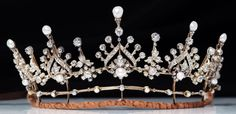 Silver and gold tiara c.1880 with natural pearls and diamonds, with original box