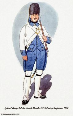 Spanish; Galvez' Army Sapper of either Infantry Regt. toledo 16th or Flandes 38th. 1780