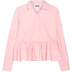 MSGM Stretch cotton-blend poplin peplum shirt (1,695 CNY) ❤ liked on Polyvore featuring tops, shirts, baby pink, baby pink shirt, shirt top, pastel pink shirt, loose shirts and pleated shirt
