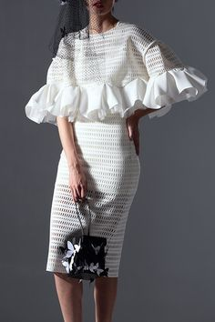 AZURE SHEN Hollow Out Flounce Solid Color Dress