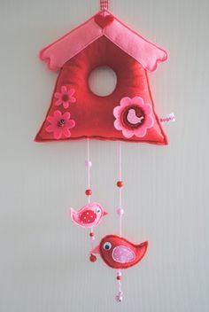 Felt birdhouse, so cute!
