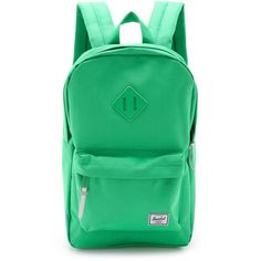 Herschel Supply Co. Heritage Mid Volume Backpack ($54) ❤ liked on Polyvore featuring bags, backpacks, kelly green, green backpack, herschel supply co bag, nylon zipper bag, herschel supply co. and herschel supply co backpack