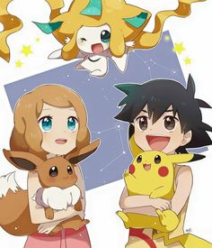 Ash, Serena, Pikachu, Eevee, and Jirachi | Amourshipping