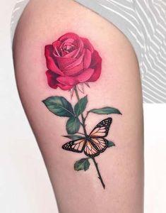 Hergestellt von Stella Luo Tätowierern in Toronto, Kanada - rose tattoos Feather Tattoos, Leg Tattoos, Body Art Tattoos, Tribal Tattoos, Small Tattoos, Sleeve Tattoos, Cool Tattoos, Tatoos, Rose Tattoo Leg