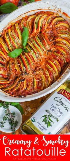 The BEST ratatouille recipe! This creamy and smoky twist on classic French ratatouille is made with zucchini, eggplant, tomatoes and smoked paprika. New Recipes, Vegetarian Recipes, Dinner Recipes, Cooking Recipes, Healthy Recipes, Vegetarian Cooking, Easy Cooking, Easy Recipes, Dinner Ideas
