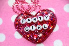 Resin Jewelry, Pendant Necklace, Glitter Heart, Party Girl Pendant Necklace, isewcute Resin Jewelry, Cute Conversation Heart Words Necklace by isewcute on Etsy