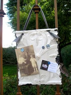 BY THE SEA Antique Ceiling Tin Memo Board / Frame.
