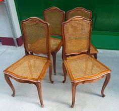 4 sedie provenzali in faggio con seduta e schienale in paglia di Vienna