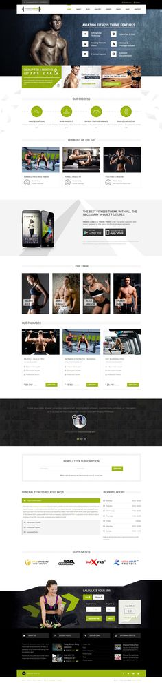 Fitness Zone #Wordpress theme muscled for modern trend, gyms, sport club or fitness centre and personal trainers! Fully responsive layout that looks great on mobile and tablet devices. With inbuilt drag and drop page builder you can make the website creation a whole lot easier. #gym