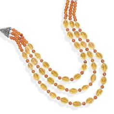 """18"""" Multistrand Carnelian and Citrine Necklace"""