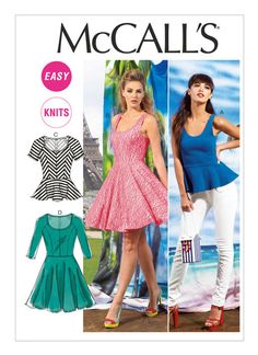 M6754 Misses' Flared Tops and Dresses. Close-fitting and flared tops and dresses have neckline variations, elasticized (seamed) waist, and narrow hems. A, B: Peplum. A, D: Scoop neckline and sleeveless. B: Underlined. C, D: Bias bodice, raglan sleeves and side-front seams. C: Short sleeves. D: Three-quarter length sleeves. For two-way stretch knits only.