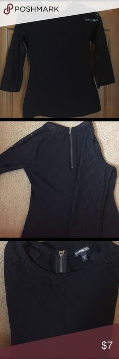 Express quarter length, lace sleeves shirt. NWOT Express quarter length lace sleeves, half zipper in the back. Never worn. Size medium. The material of the body of the shirt is stretchy. Express Tops Blouses