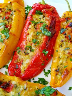 Sweet Long Peppers Stuffed with Cauliflower Rice - Proud Italian Cook Vegetarian Recipes, Cooking Recipes, Healthy Recipes, Healthy Dinners, Long Hot Peppers, Red Pepper Recipes, Great Roasts, Long Pepper, Stuffed Sweet Peppers