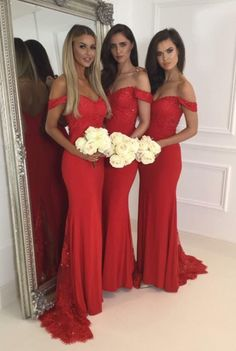 A391 Red Jersey Lace Off The Shoulder Sweetheart Cap Sleeves Mermaid Sweep Train Bridesmaid Dresses, Red Prom Dresses