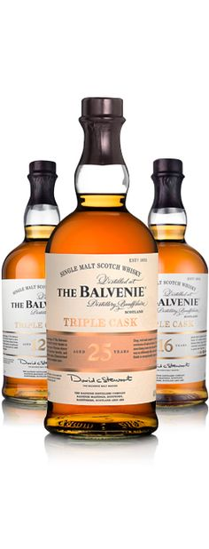 The Balvenie Triple Cask range, which comprises 12 year old, 16 year old and 25 year old expressions, is created by combining The Balvenie that has matured in the three most traditional types of cask – first-fill bourbon, refill bourbon and sherry – in a large wooden vessel known as a marrying tun.