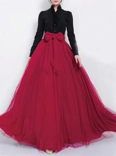 Dark Red Tulle Maxi Skirt with Bow Sash and Extra Wide Hem - Long Flow – RobePlus Robes Western, Western Dresses, Stylish Dresses, Casual Dresses, Fashion Dresses, Formal Dresses, Party Wear Dresses, Ball Dresses, Ball Gowns