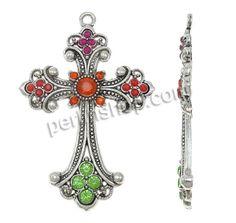 Zinklegierung Kreuz Anhänger, Schwertlilien Kreuz, antik silberfarben plattiert, mit Strass, frei von Nickel, Blei & Kadmium, 50x74x5mm, Boh...