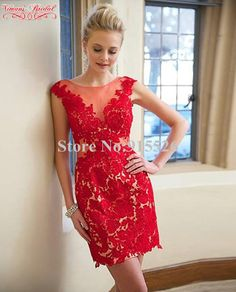 2015 Red Sexy Lace Cocktail Dresses Appliques Scoop Sleeveless Mini Sheath Robe De Coctel Made In China Free Shipping AO71