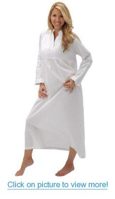 Del Rossa Women's Guinevere 100% Cotton Long Victorian Nightgown