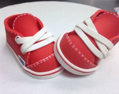 "Items similar to Red Fondant ""Baby Van Shoes"" Cake Topper on Etsy Baby Vans, Fondant Baby, Chocolate Molds, Cupcake Toppers, Vans Shoes, Molding Chocolate, Cakes, Red, Food Cakes"