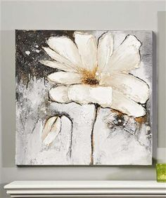 White Flower Oil Painting on Canvas I think the abstract shape of the pedals would bother me after a while, but I really like the subtle shading of the flower.