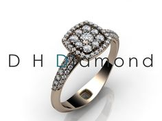 Round Diamond Engagement Ring with Natural Diamond VVS-EF, 14k Rose Gold, or Yellow or White USD 1090. (IND Rs.72,500/-)