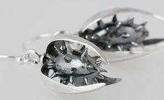 Silver Thistle drop earrings