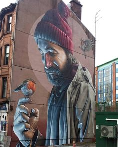Glasgow street art this mural is by graffiti artist Sam Bates (aka Smug) this is part of the Glasgow City Centre Mural Trail which began in Murals Street Art, 3d Street Art, Urban Street Art, Amazing Street Art, Street Art Graffiti, Mural Art, Street Artists, Graffiti Artists, Graffiti Wall Art